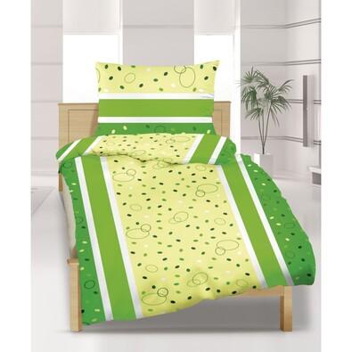 Flanelové povlečení Puntíky zelené, 240 x 200 cm, 2 ks 70 x 90 cm