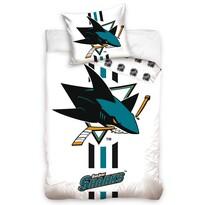 NHL San Jose Sharks White pamut ágynemű, 140 x 200 cm, 70 x 90 cm