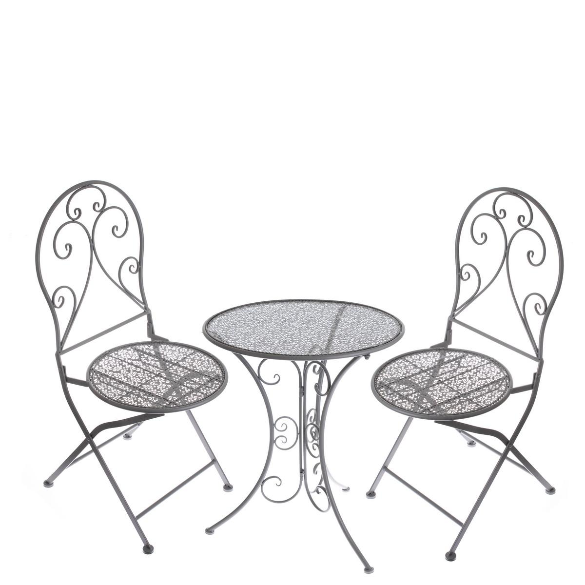 Kovový záhradný set Belveder 3 ks, sivá
