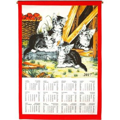 Textilní kalendář 2017 Kočky, 45 x 65 cm