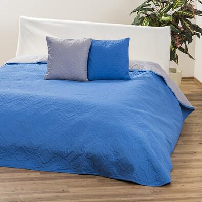 Přehoz Vigo modrá/šedá, 220 x 240 cm, 2 ks 40 x 40 cm