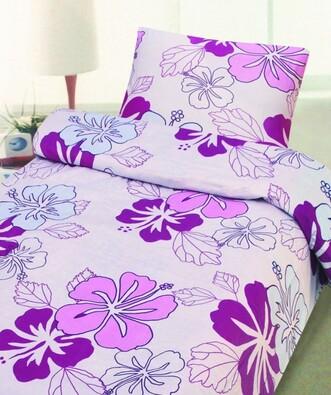 Bavlněné povlečení Fiore, 140 x 200, 70 x 90 cm, fialová, 140 x 200 cm, 70 x 90 cm