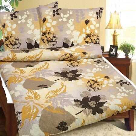 Lenjerie de pat creponată Frunze de toamnă, 140 x 200 cm, 70 x 90 cm