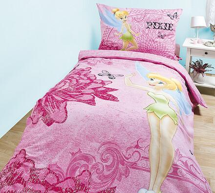 Dětské bavlněné povlečení Víla Zvonilka (Fairies P, růžová, 140 x 200 cm, 70 x 90 cm