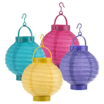 Papírové lampiony barevné, sada 4 ks
