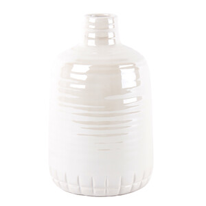 Keramická perleťová váza bílá, 21 cm
