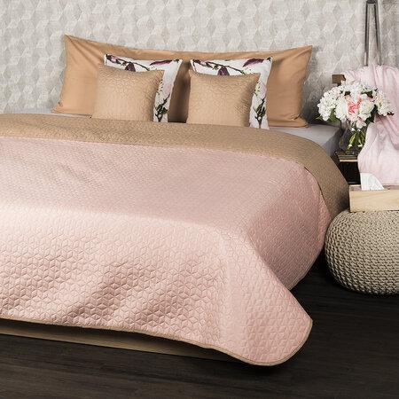 4Home Narzuta na łóżko Doubleface beżowy/różowy, 220 x 240 cm, 2x 40 x 40 cm