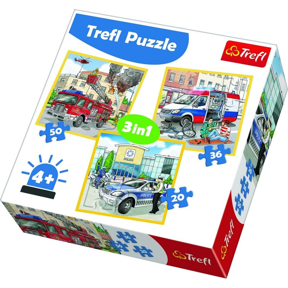 Puzzle TREFL Policie záchranáři a hasiči 3v1 20,36,50 dílků