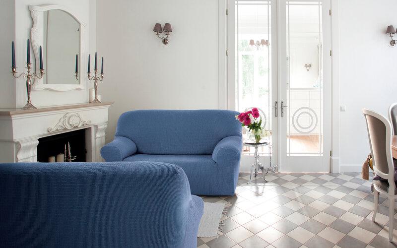 Multielastický potah na pohovku Cagliari modrá, 140 - 180 cm