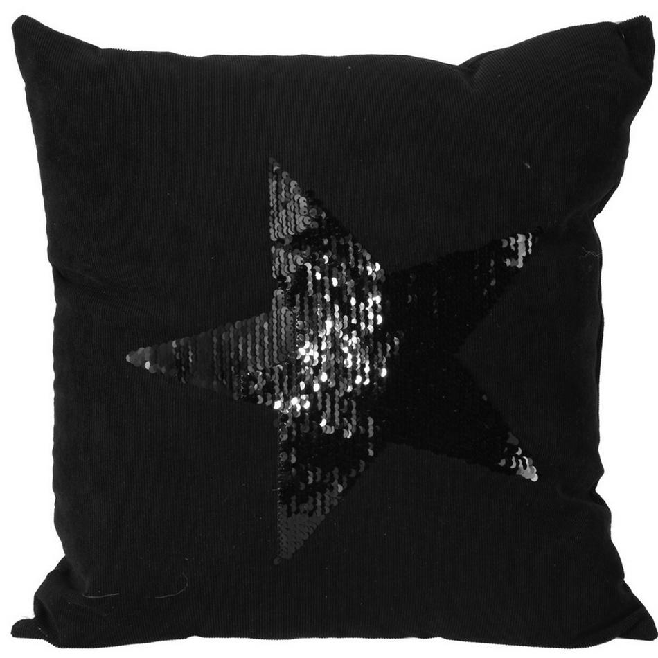 Koopman Polštářek Stars černá, 45 x 45 cm