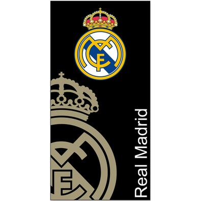 Osuška Real Madrid černá, 75 x 150 cm