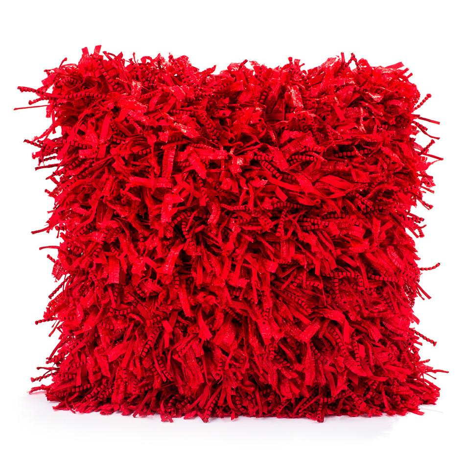 BO-MA Trading Obliečka na vankúšik Shaggy červená, 45 x 45 cm