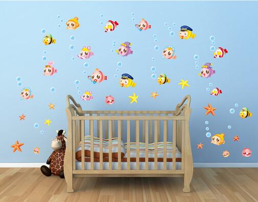 Samolepicí dekorace Hejno rybiček