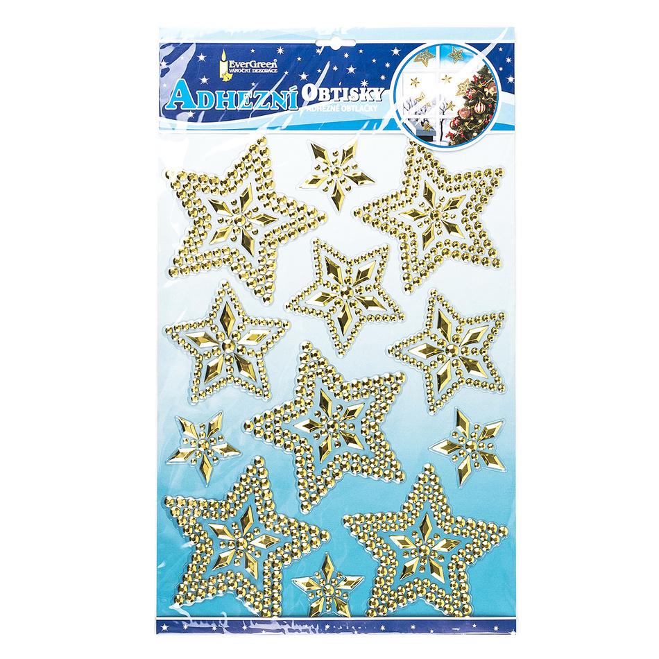 Vánoční 3D samolepky hvězdy zlatá, HTH