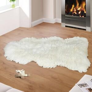 Vlněná předložka Kožešina bílá, 90 - 105 cm