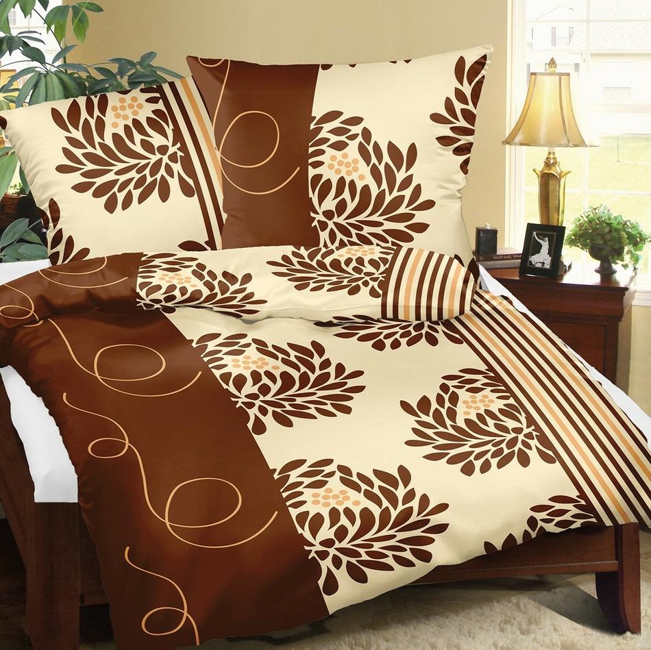 Bellatex Bavlnené obliečky Chryzantéma hnedá, 140 x 220 cm, 70 x 90 cm