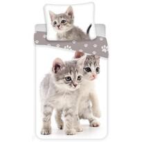 Jerry Fabrics Kitten grey gyermek pamut ágynemű, 140 x 200 cm, 70 x 90 cm