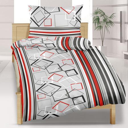 Bavlnené obliečky Kosoštvorce sivé, 140 x 200 cm, 70 x 90 cm