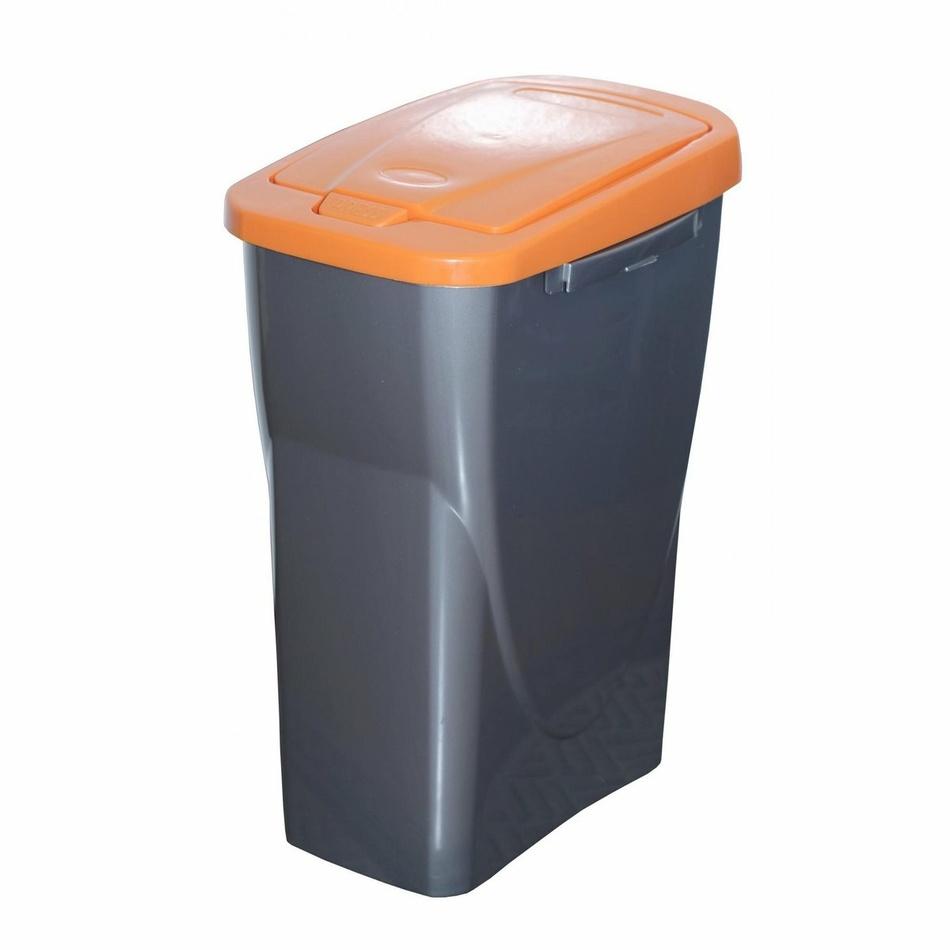 Koš na tříděný odpad oranžové víko; 51 x 21,5 x 36 cm; 25 l; plast