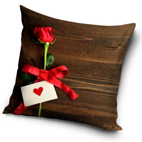 Tiptrade Polštářek Růže pro Tebe hnědá, 40 x 40 cm