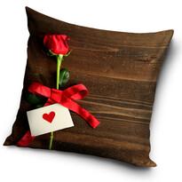 Rózsa Neked párna, barna, 40 x 40 cm