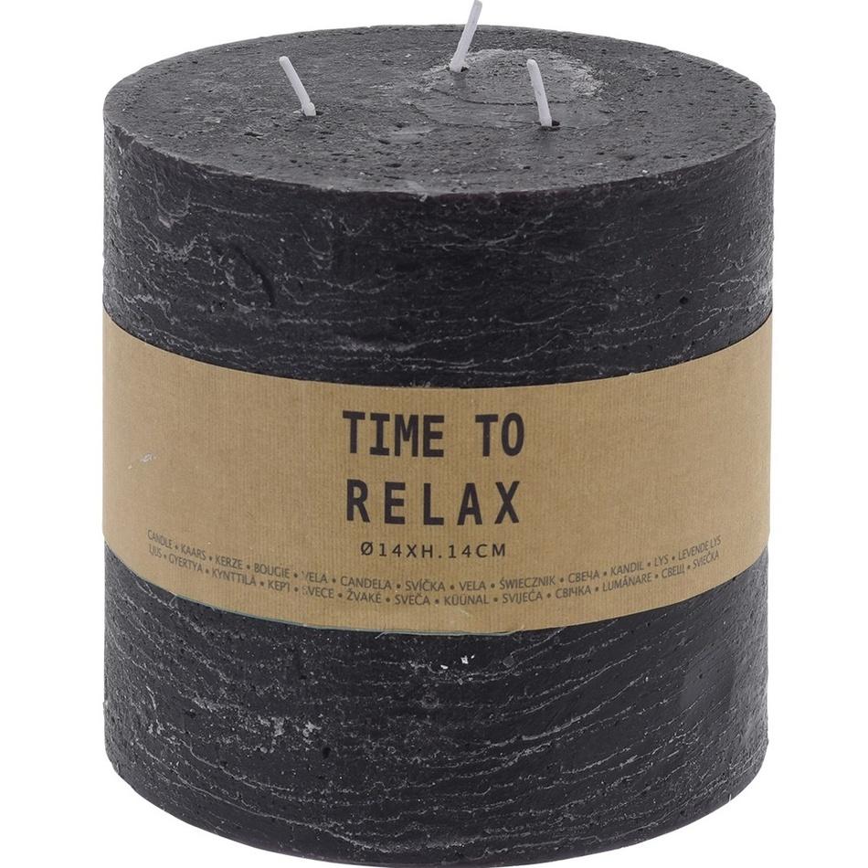 Dekorativní svíčka Time to relax černá, 14 cm