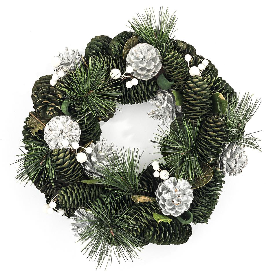 Vánoční věnec 30 cm stříbrná, HTH