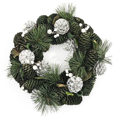 Vánoční věnec 30 cm stříbrná