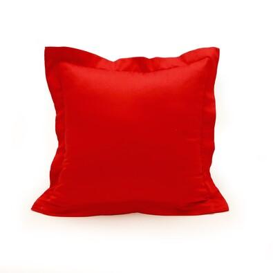 Povlak na polštářek s lemem satén červená, 40 x 40 cm