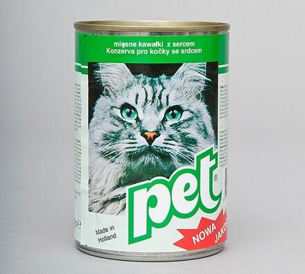 Pet Katze masové kostky se srdcem, 410g