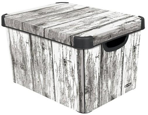 Úložný dekorativní box Curver OLD WOOD, šedá, 39,5 x 29,5 x 25 cm