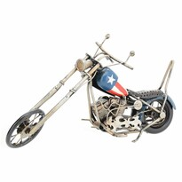 Model decorativ motocicletă Chopper, albastru