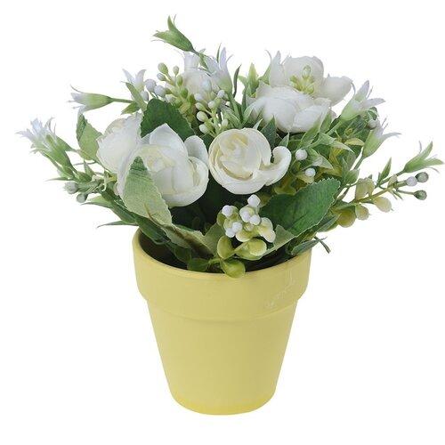 Művirág rózsacsokor virágcserépben fehér, 21 cm