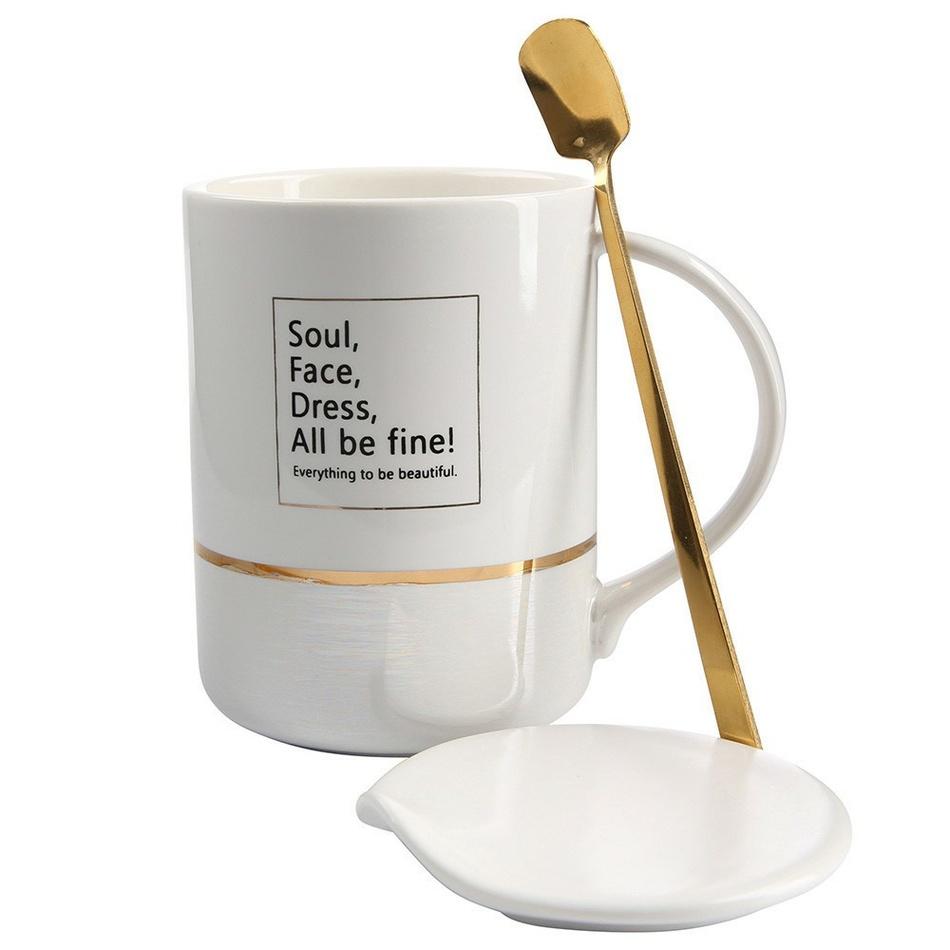 Altom Porcelánový hrnek s víkem Soul 360 ml, bílá