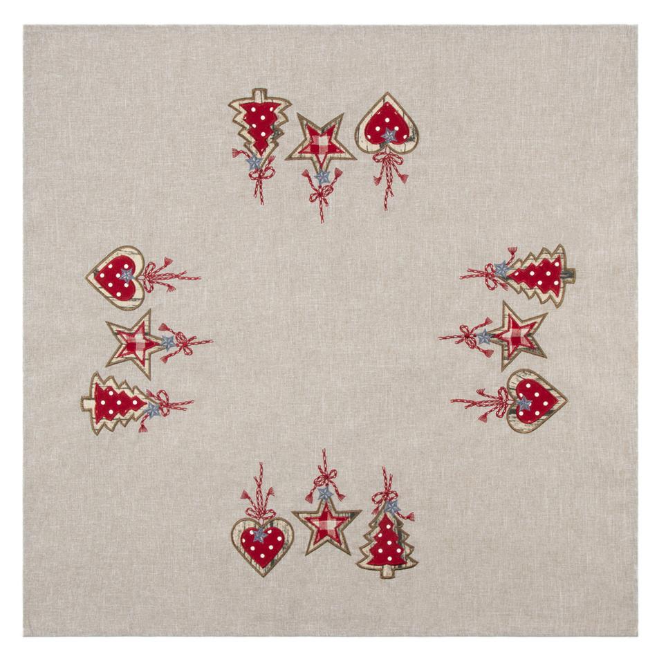 BO-MA Trading Vánoční ubrus Perníčky šedá, 85 x 85 cm