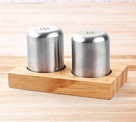 Kořenky sůl a pepř, stříbrná, 10,5 cm
