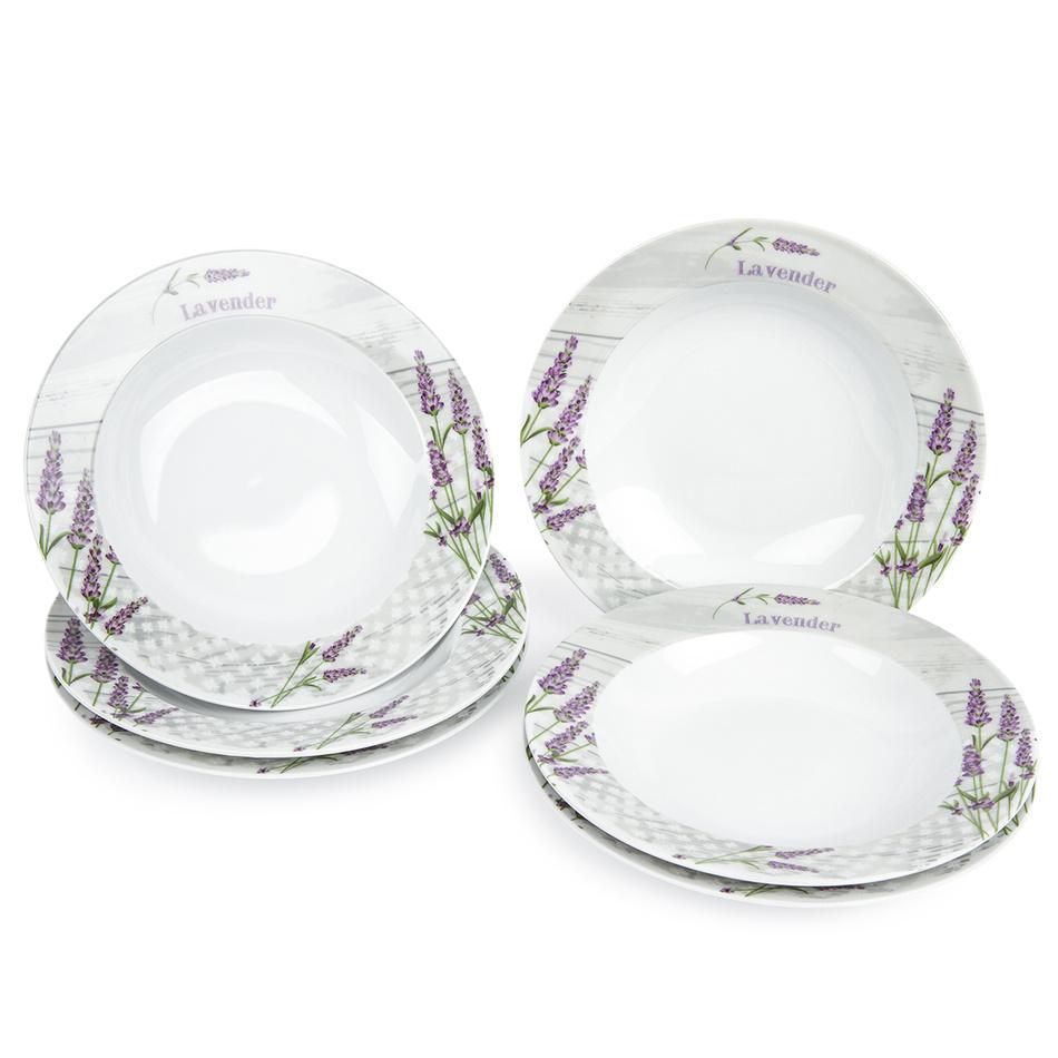 Jídelní talíř hluboký Levandule, 6 ks, 21,5 x 4 cm 590879