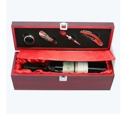 Darčekový box so setom na 1 fľašu, červená
