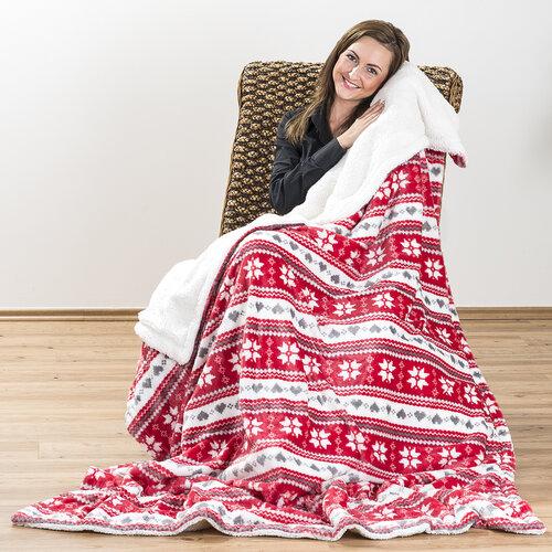 4Home Baránková deka Zimný sen červená, 150 x 200 cm
