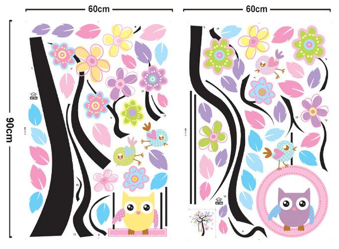 Samolepicí dekorace Sovičky na houpačce
