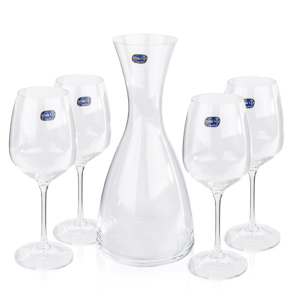 Produktové foto Bohemia Crystal Sklenice na víno 4 ks  s karafou Giselle, 1200 ml