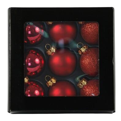 Skleněné vánoční koule, červené, 9 ks, červená