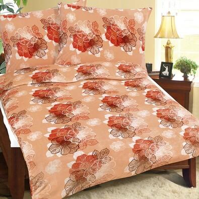 Obliečky mikroflanel Oranžový kvet, 140 x 200, 70 x 90 cm
