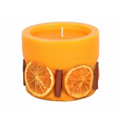 Dekorativní svíčka Pomeranč a skořice, válec