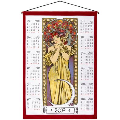 Kalendarz tekstylny Alfons Mucha 2019, 45 x 65 cm