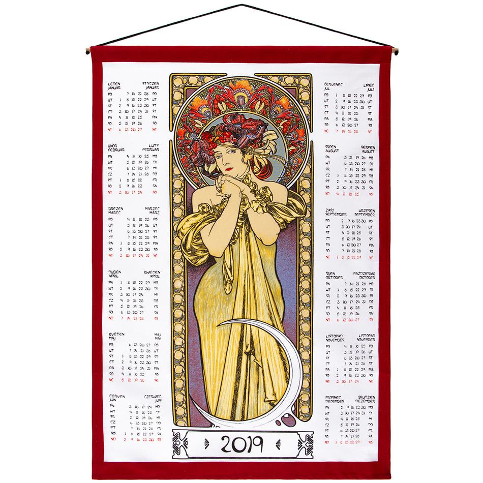 Forbyt Textilní kalendář Alfons Mucha 2019, 45 x 65 cm