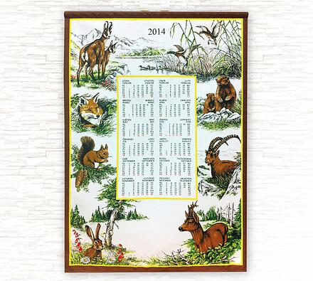 Textilní kalendář 2014 Lesní zvěř, 44 x 70 cm, hnědá, 40 x 70 cm