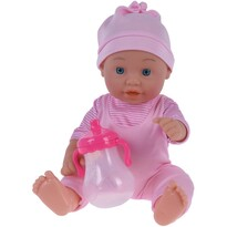 Bebeluș, cu sticluță roz deschis, 26 cm