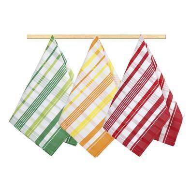 Kuchynská utierka Kocka zelená, oranžová, červená, 50 x 70 cm, sada 3 ks