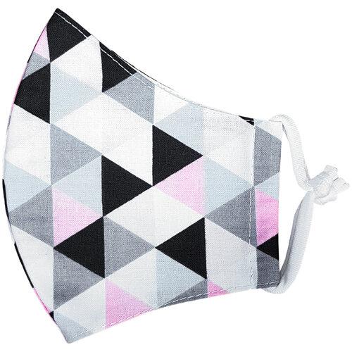 Ústne bavlnené rúško Triangle ružovo-sivá medium